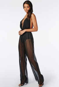 Black Sheer Wide Leg Hot Sexy Jumpsuit